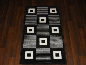 Modern Approx 4x2 60x110cm Woven Backed Black/ White Sale Quality Squares